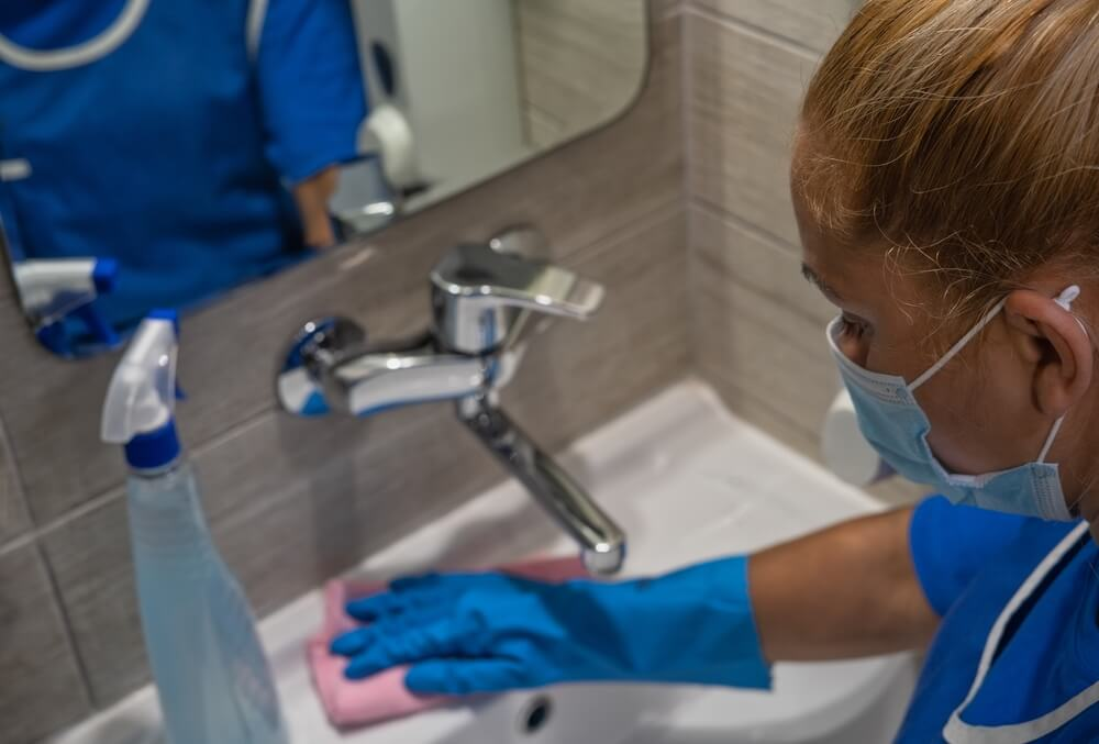 cleaning up a hospital washroom